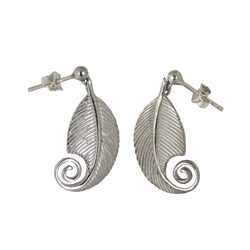 "Earpin ""Feder/Feather"", 2,6cm, rhodium plated"
