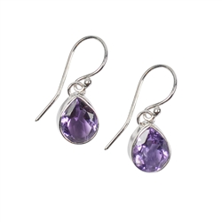 Earhooks Amethyst Drops faceted, 2,4cm, rhodium plated