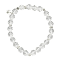 "Bracelet of Light ""Oriental-Ring"" Beads Rock Crystal and Silver, 8mm"