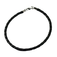 Bracelet, Leather black, 3mm x 21cm