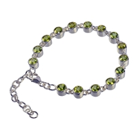 Bracelet Peridote , round, faceted