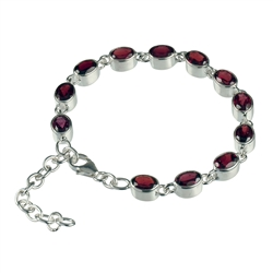 Bracelet Garnet oval, faceted