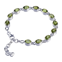Bracelet Peridot round, faceted