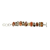 Design Bracelet Sunstone, Moonstone, Smoky Quartz, Agate Druzy (coated), Mother of Pearl