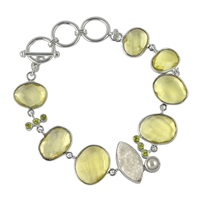 Design Bracelet with faceted Lemoncitrine, Agate Druzy, Peridot and Pearl