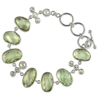 Design Bracelet with faceted Prasiolite, Topaz and Pearl