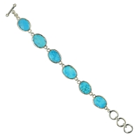 Design Braclet Magnesite light blue (dyed), faceted, Toggle clasp
