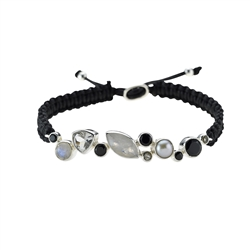 Armband Makramee, Labradorit, Spinell, Topas, Perle