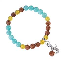Gemstone Mala Bracelet Amazonite, Amber (Self-Determination)