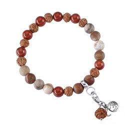 Gemstone Mala Bracelet red Jasper, petrified Wood (Grounding)
