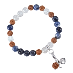 Gemstone Mala Bracelet Rock Crystal, Sodalite (Truthfullness)