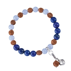 Gemstone Mala Bracelet Blue Lace Agate, Lapis Lazuli (Communication)