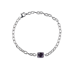 Bracelet Amethyst Rectangle (7 x 9mm) facetted