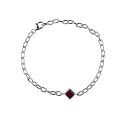 Bracelet Garnet Square (6 x 6mm) facetted