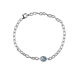Bracelet, Topaz blue Oval (9 x 11mm) facetted