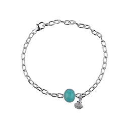 Bracelet Amazonite (12x10mm), Silver Shell
