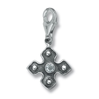 "Charm ""Equal sided Cross with Topaz"", app. 31mm"