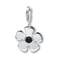 "Charm ""Flower with Onyx"", app. 28mm"