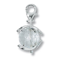 "Charm ""Rock Crystal Sphere with Star Cap"", app. 29mm"