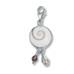 "Charm ""Nautilus Snail, Pearl and Smoky Quartz"", app. 40mm"