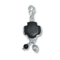 "Charm ""Sardonyx Cross with Topaz and Onyx"", app. 40mm"
