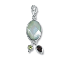 "Charm ""MOP Slab with Smoky Quartz and Peridot"", app. 43mm"