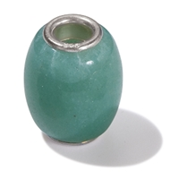 Large Hole Gemstone Bead, Aventurine, Barrel, 925 Silver lined 04mm large hole