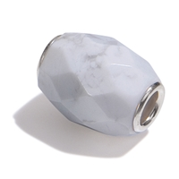 Large Hole Gemstone Bead, Magnesite, Barrel faceted, 925 Silver lined 04mm large hole