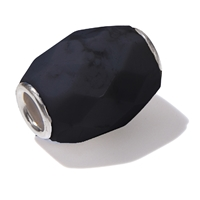 Large Hole Gemstone Bead, Onyx, Barrel faceted, 925 Silver lined 04mm large hole