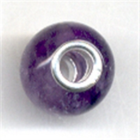 Large Hole Gemstone Bead, Amethyst, Button, 925 Silver lined 04mm large hole