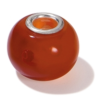 Large Hole Gemstone Bead, Carnelian, Button, 925 Silver lined 04mm large hole