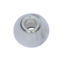 Large Hole Gemstone Bead, Magnesite, Button, 925 Silver lined 04mm large hole