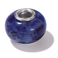 Large Hole Gemstone Bead, Sodalite, Button, 925 Silver lined 04mm large hole
