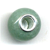 Large Hole Gemstone Bead, Aventurine, Button, 925 Silver lined 04mm large hole