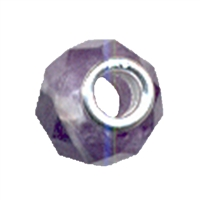 Large Hole Gemstone Bead, Amethyst, Button faceted, 925 Silver lined 04mm large hole