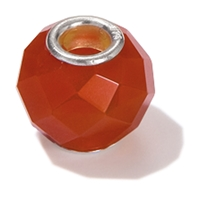 Large Hole Gemstone Bead, Carnelian, Button faceted, 925 Silver lined 04mm large hole