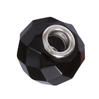 Large Hole Gemstone Bead, Onyx, Button faceted, 925 Silver lined 04mm large hole
