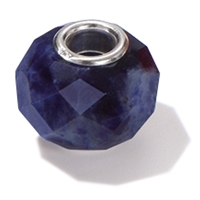Large Hole Gemstone Bead, Sodalite, Button faceted, 925 Silver lined 04mm large hole
