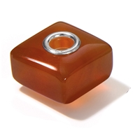 Large Hole Gemstone Bead, Carnelian, Cuboid, 925 Silver lined 04mm large hole
