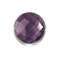 Amethyst facetted framed, Silver, 20mm