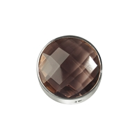 Smoky Quartz facetted framed, Silver, 12mm