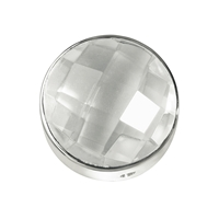 Rock Crystal facetted framed, Silver, 15mm