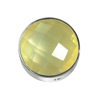 Lemon Quartz facetted framed, Silver, 15mm