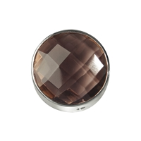 Smoky Quartz facetted framed, Silver, 15mm