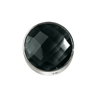 Onyx (dyed) facetted framed, Silver, 12mm