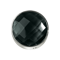 Centerpiece Onyx (coloured), medium, facetted, silver, app. 15mm