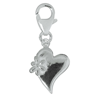 "Charm ""Heart with Flower"", 29mm"