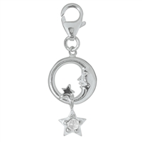 "Charm ""Moon and Star with Topaz"", app. 35mm"