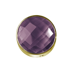Amethyst facetted framed, Silver gold plated, 12mm