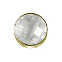 Rock Crystal facetted framed, Silver gold plated, 12mm